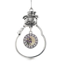 Inspired Silver God Daughter Iris Flower Circle Snowman Holiday Christmas Tree O - $14.69