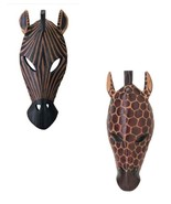 WALL MASKS ZEBRA and GIRAFFE Set of 2 Animal Safari Plaques - $26.77