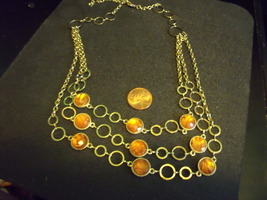 Goldtone Multi Strand Necklace with Cinnamon Colored Faceted Stones- Vin... - $25.00