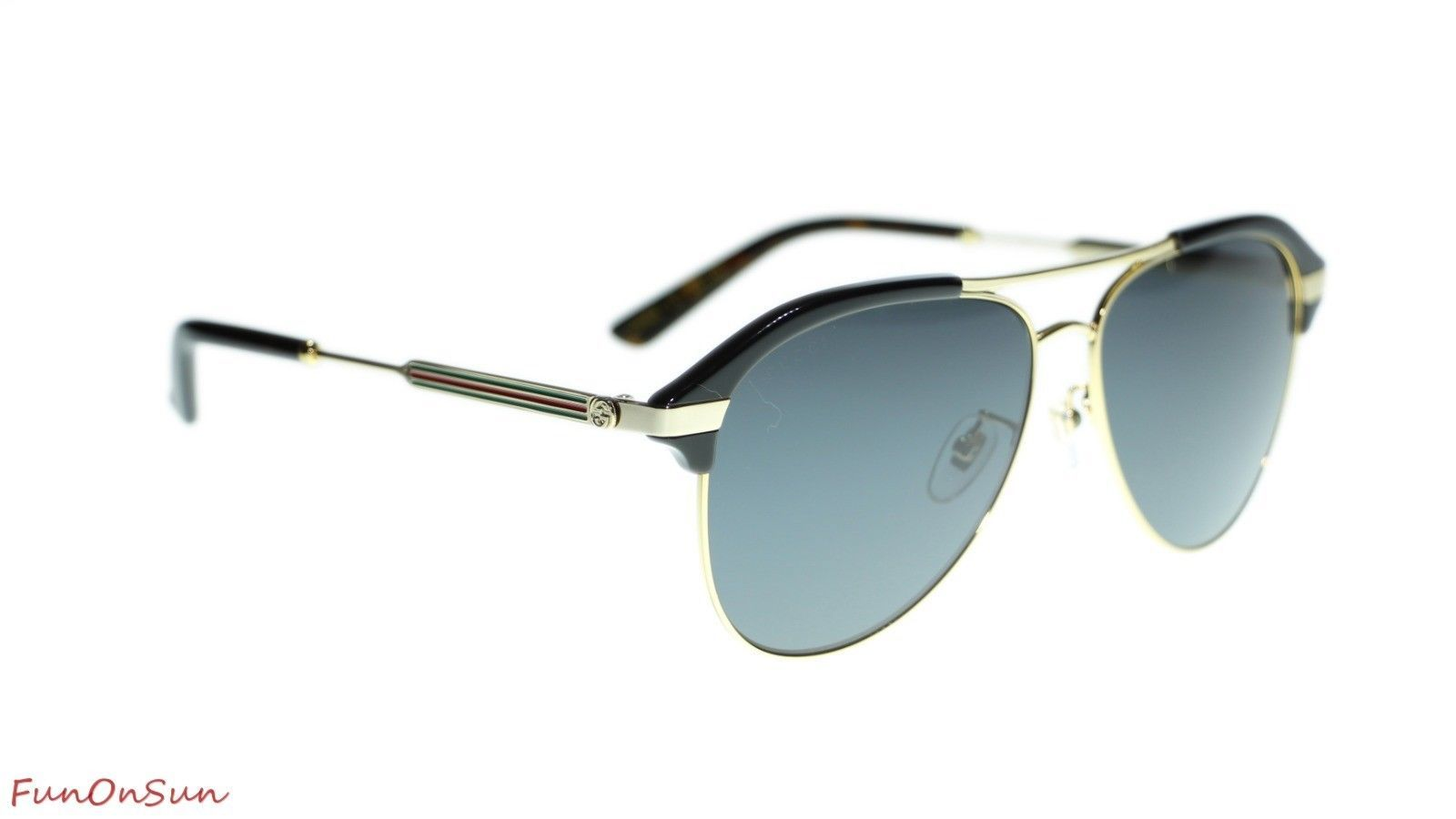 e614ba39cd0 Gucci Men Sunglasses GG0288SA 001 Black Gold Grey Lens Aviator 60mm  Authentic