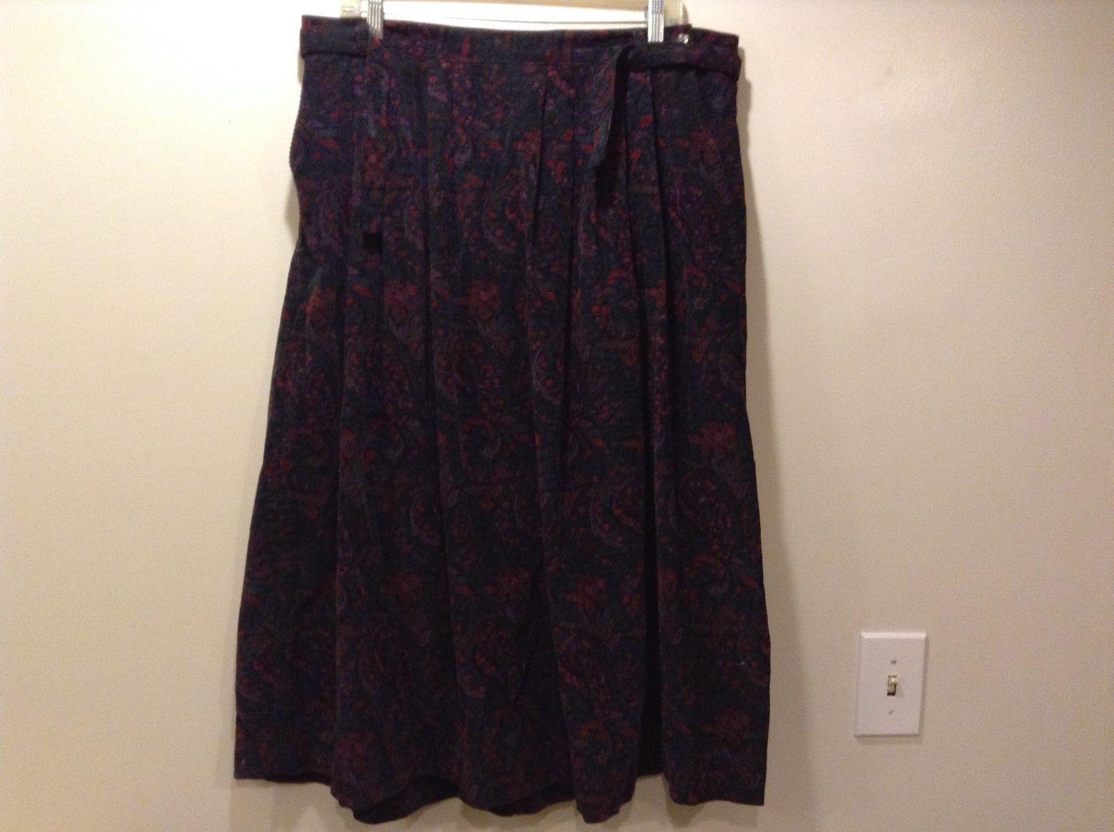 L.L. Bean Ladies Paisley Multicolor Flared Skirt Sz 20R