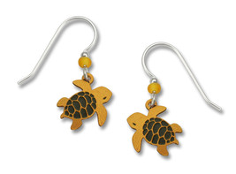 Sienna Sky Hand-Painted Turtle Earrings Made in the USA Sterling Ear Wir... - $12.13