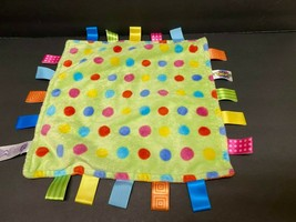TAGGIES SECURITY BLANKET LOVEY COLORFUL DOTS ORANGE BACK VGUC - $11.48