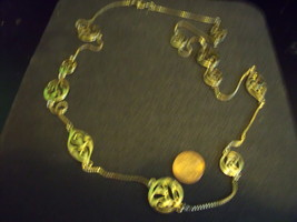Vintage Goldtone Long Necklace with Cutout Medallion Stations - $23.00