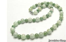Vintage Natural  Green Jade Round Bead Necklace image 1