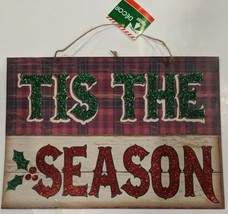 """Winter Sign """"Tis the Season"""" Words Red And Green And Mistletoe In Glitte... - $6.50"""