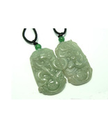 A Pair Natural natural  Green Dragon Phoenix Jade charm Pendant - $29.99
