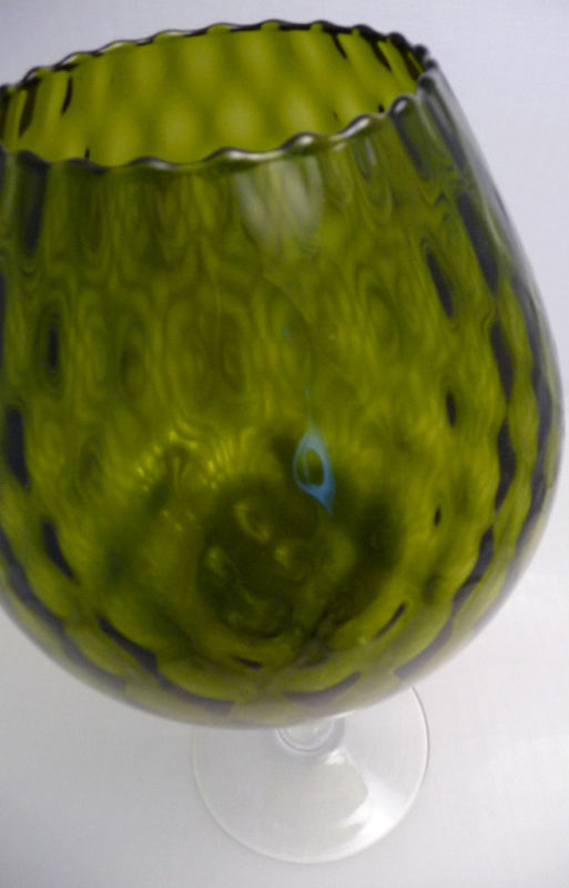 FENTON XLARGE Olive DIAMOND OPTIC Brandy Snifter Vase 1950s Mid Century Mod image 3