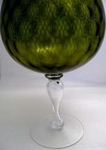 FENTON XLARGE Olive DIAMOND OPTIC Brandy Snifter Vase 1950s Mid Century Mod image 5