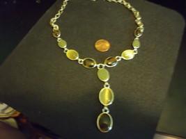 Vintage Silvertone Multi Stone Y Necklace - $28.00