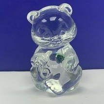 Fenton glass teddy bear figurine birthday stone sculpture August Peridot... - $33.66