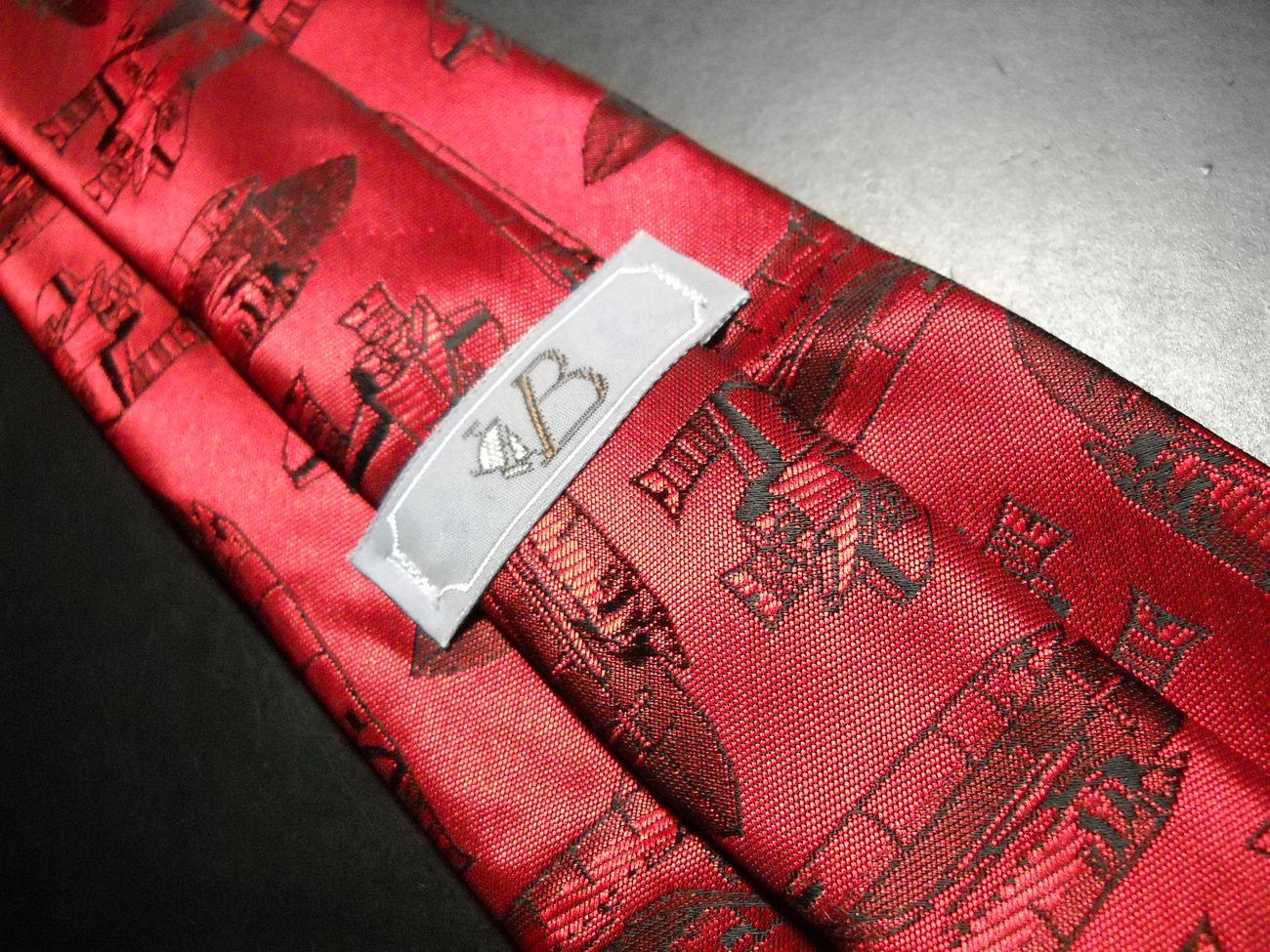 VB Shuttlecraft Neck Tie Glossy Reds with Shuttlecrafts image 4