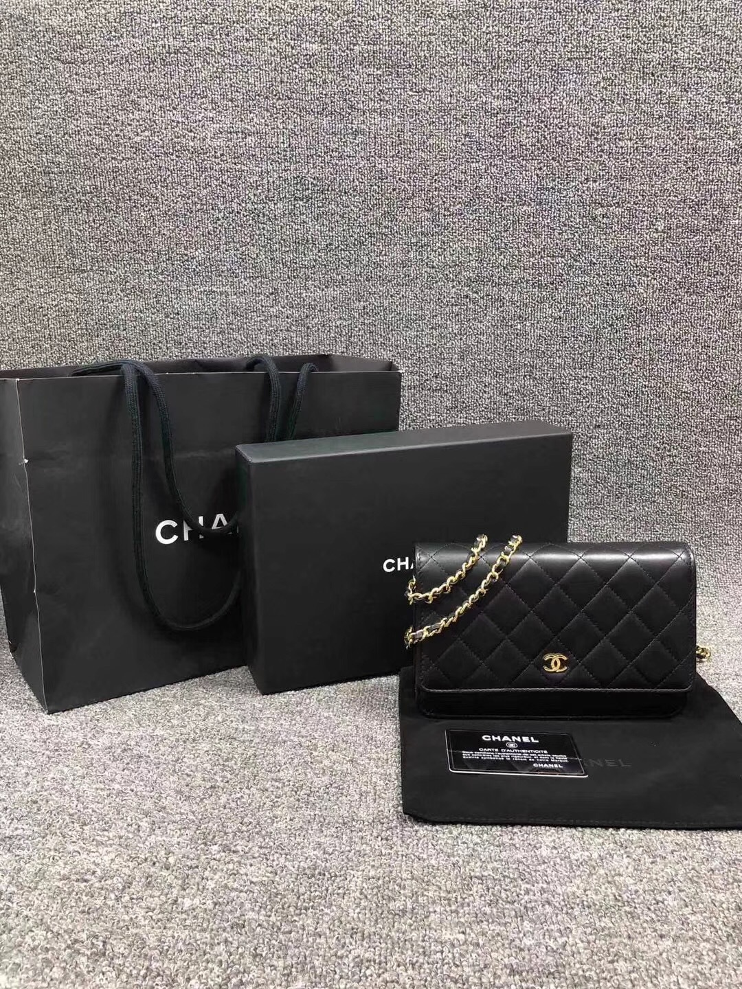 895d01c32edd31 NEW AUTH CHANEL 2019 Black Lambskin WOC Wallet on Chain WOC Bag GHW ...