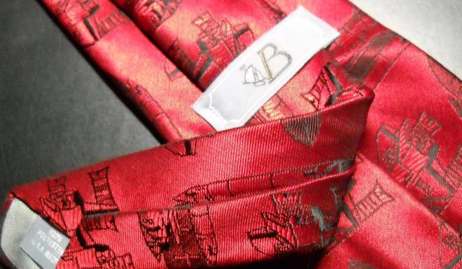 VB Shuttlecraft Neck Tie Glossy Reds with Shuttlecrafts image 6