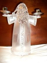 CLEAR PLASTIC ST. NICK 2 CANDLE CANDLESTICK HOLDER - $5.99