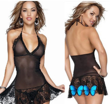 8049 Sexy halter sheer neck dress w lace trim, g-string, ,Free size, fit to s/m/ image 2
