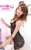 8049 Sexy halter sheer neck dress w lace trim, g-string, ,Free size, fit to s/m/ image 4