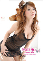 8049 Sexy halter sheer neck dress w lace trim, g-string, ,Free size, fit to s/m/ image 5