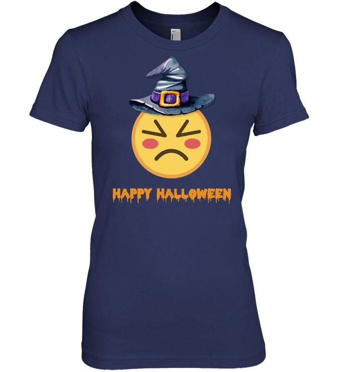 Funny Happy Halloween Witch Emoticon Tshirt