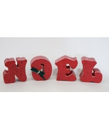 Wooden Christmas NOEL Decorations Red Decor - $8.95