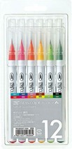 From Japan Kuretake Calligraphy Brush Pen aqueous 12 Colors - $29.70