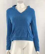 Knit Fit Sweater Large Blue Chenille Solid Hooded Pullover Solid Long Sl... - $10.95