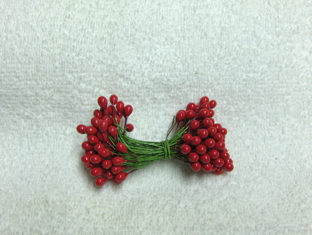 "RED BERRIES 5/16"" w-green wire for Holiday decorating 1 gross"