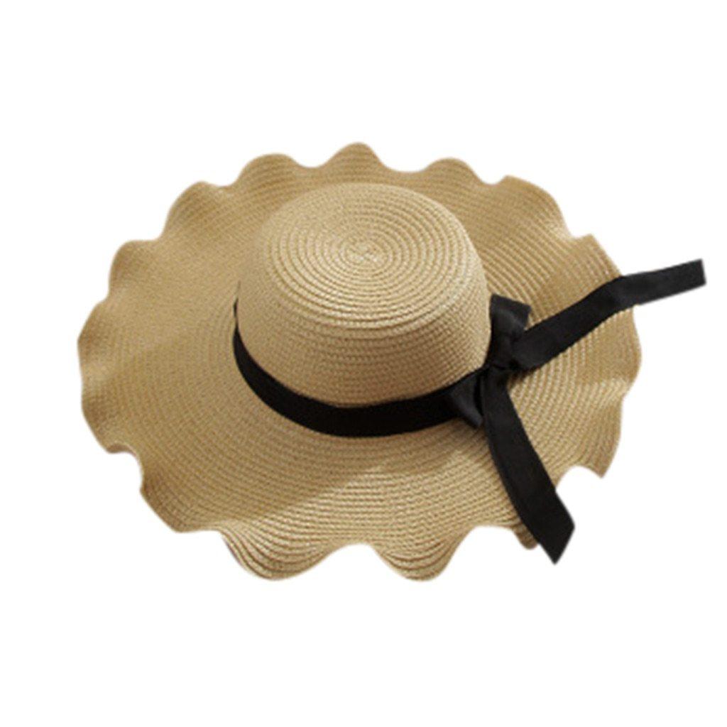 2019 New Women Summer Bowknot Straw Hat Stripe Floppy Foldable Roll up Beach Cap