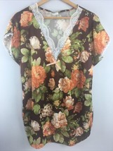 Vtg 70s Private Moments Nightgown L Large USA Made Brown Floral Lace Gow... - $29.70