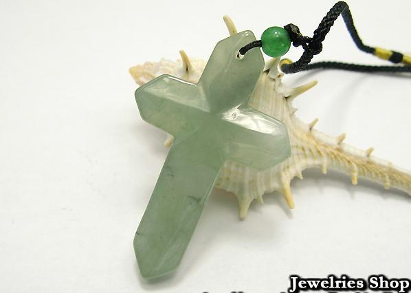 Holy Natural Green Cross Jade Pendant Necklace