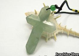 Holy Natural Green Cross Jade Pendant Necklace image 1