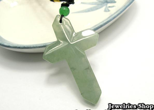Holy Natural Green Cross Jade Pendant Necklace image 3