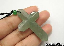 Holy Natural Green Cross Jade Pendant Necklace image 2