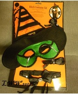 Adult Instant Halloween Witch Masquerade Mask Hat Choker Collar Cuffs C... - $9.97