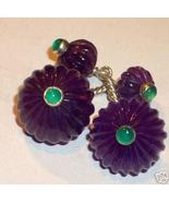 GEMSTONE STERLING AMETHYST EMERALD CUFFLINKS sld - $160.00