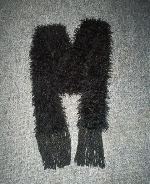 New Hand Crochet Scarf in Black with Sparkles in Assorted Colors, Handmade