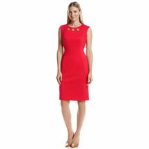 NWT-Calvin Klein ~Sizes 6-8-10-14~ Grommet Ponte Sheath Red Dress Retail... - $65.99