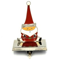 Santa with Tall Hat Enameled Christmas Stocking Holder Hanger  - $18.88