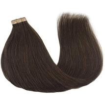 GOO GOO Tape in Hair Extensions Chocolate Brown Silky Straight Real Human Hair E image 4