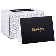 100 Thank You Cards - Black Bulk Note Cards with Gold Foil Embossed Letters - Pe