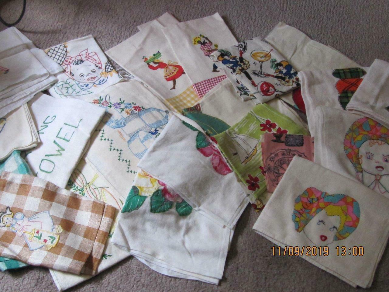 Lot of 25 Vintage teatowels dish towels assorted sizes colors condition fabrics