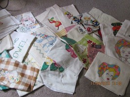 Lot of 25 Vintage teatowels dish towels assorted sizes colors condition ... - $64.35