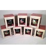 7 - DATED 2002 HALLMARK GLASS BALL KEEPSAKE CHRISTMAS TREE ORNAMENTS FLORAL - $25.73