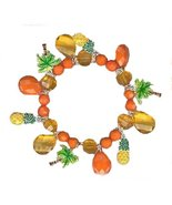 Colorful Tropical Charm Bracelet Pineapple & Palm Tree Charms Orange & Y... - $12.99
