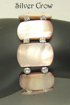 Pink Shell Bright Silver Pewter Stretch Bracelet - $15.99