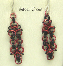 Red & Black Chainmail Earrings Chainmaille Aluminum - $10.99