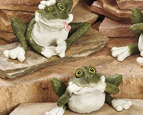 Set of 6 Wacky Goofy Frogs Garden Statues