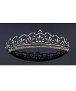 Valentine Victorian Look Rose Cut Diamond Silver Antique Wedding Tiara &... - $807.50