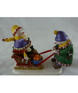 "Ingrid Design Christmas Snowmen Figurines 1998 The Sled Of Goodcheer 3.5"" - $9.89"