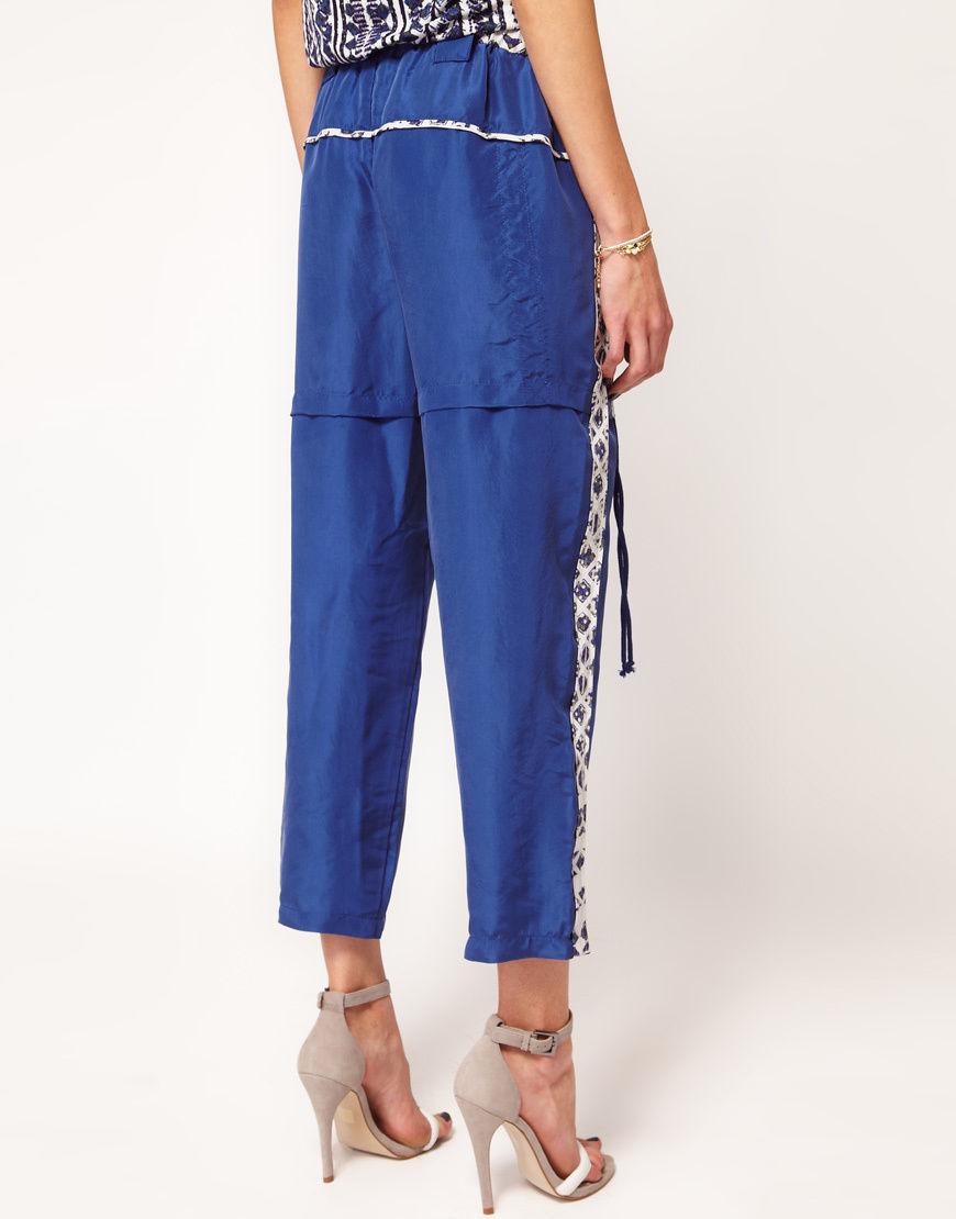 NWT $485 Edun Blue Indigo Dye Silk Drawstring Pant